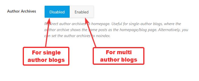arquivos do autor ativados ou desativados
