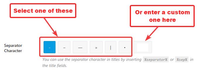configuração de caractere separador