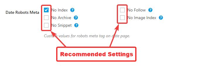 configurações recomendadas para meta de robôs de data