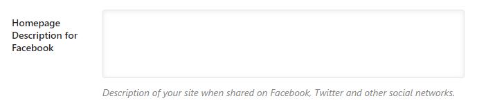 descrição da página inicial para o facebook