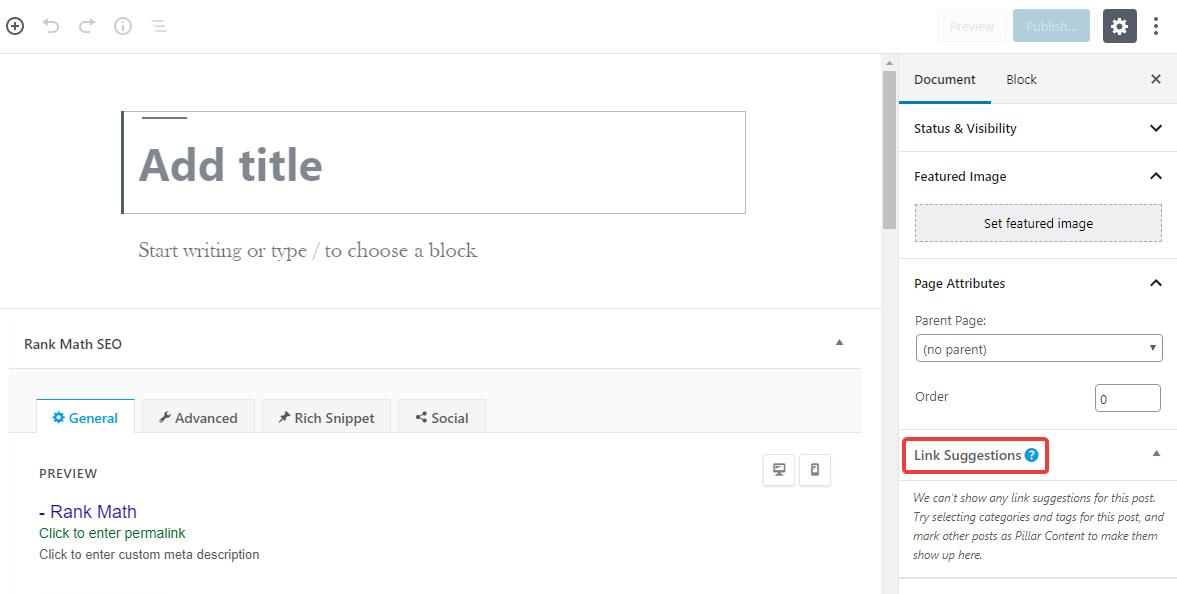 exemplo de sugestões de links para páginas