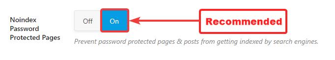 páginas protegidas por senha noindex
