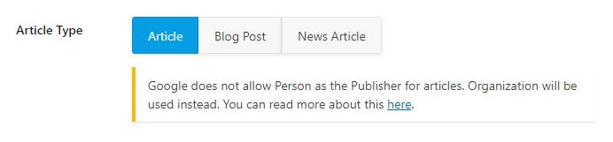 selecione o tipo de artigo