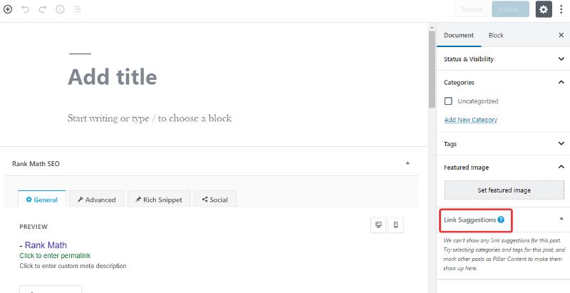 visualização de sugestões de links no editor de postagem